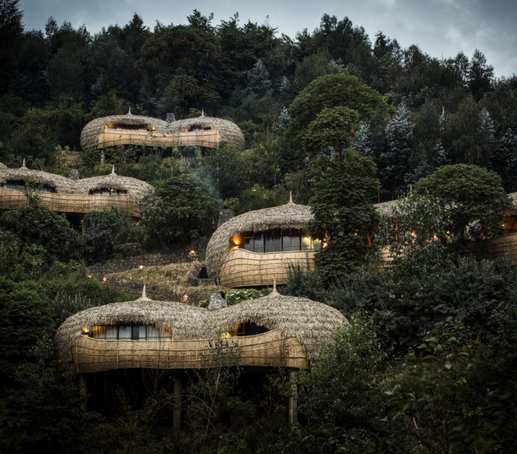 The villas, main lodge and walkways of Bisate Lodge, Wilderness Safari, Rwanda