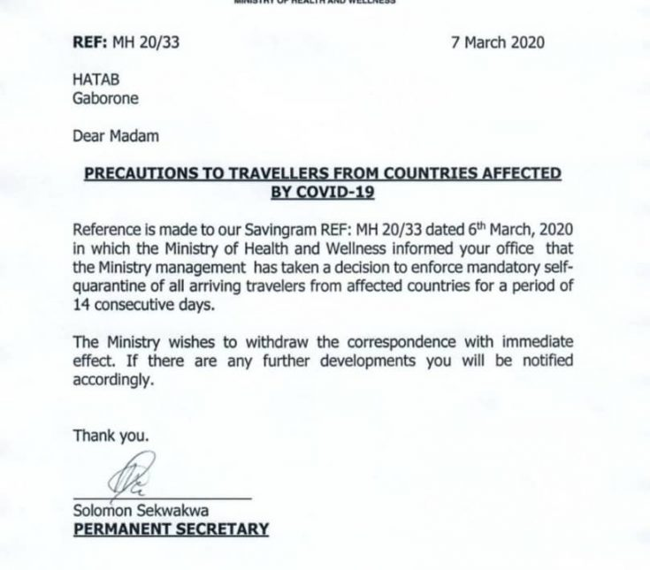 Botswana Retracts Coronavirus Quarantine Statement